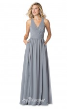 1605UK2064 A Line V Neck Silver Chiffon High/Covered Bridesmaid Dresses