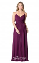 1606UK2065 A Line V Neck Grape Chiffon Open Back Bridesmaid Dresses