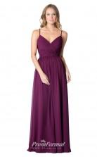 1606UK2065 A Line V Neck Grape Chiffon Open Back Bridesmaid Dresses