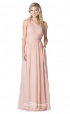 1607UK2066 A Line One Shoulder Pearl Pink Chiffon Open Back Bridesmaid Dresses
