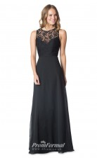 1612UK2071 A Line Jewel Black Lace Chiffon Open Back Bridesmaid Dresses