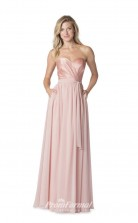1614UK2073 A Line Strapless Candy Pink Chiffon Stretch Satin Zipper Bridesmaid Dresses
