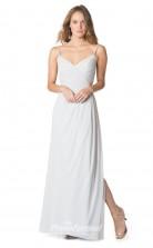 1615UK2074 A Line V Neck Ivory Chiffon Zipper Bridesmaid Dresses