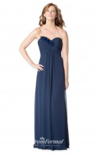 1616UK2075 A Line Strapless Navy Blue Chiffon Mid Back Bridesmaid Dresses