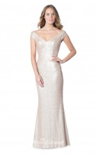 1617UK2076 Mermaid/Trumpet Short/Cap Sleeve V Neck Gray Sequined Mid Back Bridesmaid Dresses