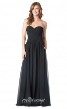 1623UK2081 A Line Strapless Black Chiffon Zipper Bridesmaid Dresses