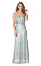 1624UK2082 Mermaid/Trumpet V Neck Silver Sequined Zipper Bridesmaid Dresses