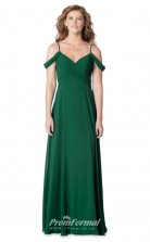 1625UK2083 A Line Straps Dark Green Chiffon Zipper Bridesmaid Dresses