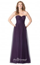 1627UK2085 A Line Strapless Grape Tulle Mid Back Bridesmaid Dresses