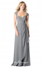 1628UK2086 A Line Short/Cap Sleeve Sweetheart Silver Chiffon Open Back Bridesmaid Dresses