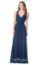 1631UK2089 A Line V Neck Navy Blue Chiffon Open Back Bridesmaid Dresses