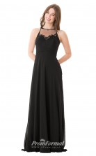 1653UK2094 A Line Boat/Bateau Black Chiffon High/Covered Bridesmaid Dresses