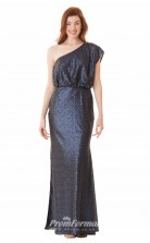 1655UK2096 Mermaid/Trumpet Short/Cap Sleeve One Shoulder Navy Blue Chiffon High/Covered Bridesmaid Dresses