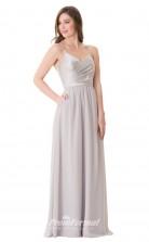 1656UK2097 A Line V Neck Silver Chiffon Stretch Satin Mid Back Bridesmaid Dresses