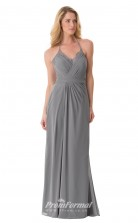 1658UK2099 Sheath/Column Halter Silver Chiffon Zipper Bridesmaid Dresses