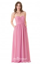 1660UK2101 A Line Strapless Dark Pink Chiffon Open Back Bridesmaid Dresses