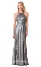 1662UK2103 Mermaid/Trumpet Halter Dim Gray Sequined High/Covered Bridesmaid Dresses