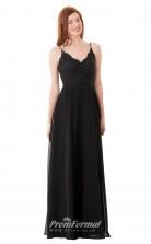 1664UK2105 A Line Scalloped-Edge Black Lace Chiffon Mid Back Bridesmaid Dresses