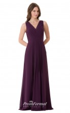 1665UK2106 A Line V Neck Grape Chiffon High/Covered Bridesmaid Dresses