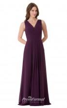 1665UK2106 A Line V Neck Grape Chiffon High/Covered Bridesmaid Dresses