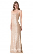 1666UK2107 Mermaid/Trumpet V Neck Champange Sequined Open Back Bridesmaid Dresses