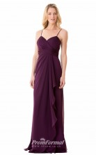 1671UK2112 Sheath/Column V Neck Grape Chiffon Zipper Bridesmaid Dresses