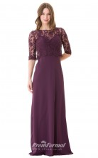 1675UK2116 Sheath/Column Half Sleeve Boat/Bateau Grape Lace Chiffon Mid Back Bridesmaid Dresses