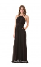 1678UK2119 A Line Halter Black Chiffon Zipper Bridesmaid Dresses
