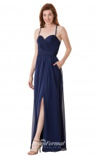 1682UK2122 A Line Sweetheart Navy Blue Chiffon Open Back Bridesmaid Dresses