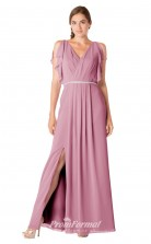 1700UK2123 A Line V Neck Purple Chiffon Zipper Bridesmaid Dresses