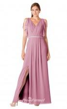 1700UK2123 A Line V Neck Purple Chiffon Zipper Bridesmaid Dresses