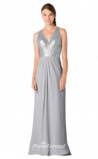 1701UK2124 A Line V Neck Silver Sequined Chiffon Open Back Bridesmaid Dresses