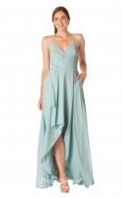1704UK2127 A Line V Neck Light Sky Blue Chiffon Mid Back Bridesmaid Dresses