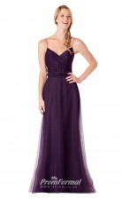 1706UK2129 Mermaid/Trumpet V Neck Grape Lace Tulle Mid Back Bridesmaid Dresses