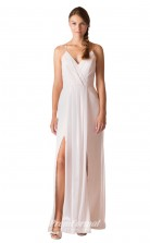 1707UK2130 Sheath/Column V Neck White Chiffon Mid Back Bridesmaid Dresses