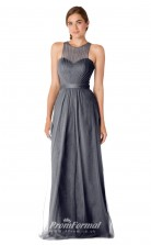 1711UK2134 Sheath/Column Halter Dim Gray Tulle Open Back Bridesmaid Dresses