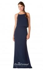 1713UK2136 Mermaid/Trumpet Halter Navy Blue Satin Chiffon Mid Back Bridesmaid Dresses