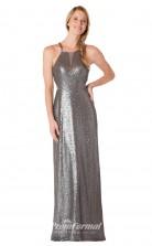 1715UK2138 Mermaid/Trumpet Halter Dim Gray Sequined High/Covered Bridesmaid Dresses