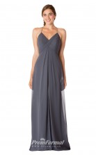 1723UK2145 A Line V Neck Drak Gray Chiffon Open Back Bridesmaid Dresses