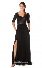 1725UK2147 A Line Half Sleeve V Neck Black Sequined Chiffon Zipper Bridesmaid Dresses