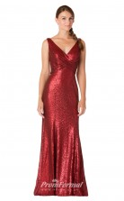 1729UK2151 Mermaid/Trumpet V Neck Light Burgundy Sequined Zipper Bridesmaid Dresses