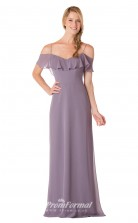 1730UK2152 Sheath/Column Short/Cap Sleeve Off The Shoulder Violet Chiffon Mid Back Bridesmaid Dresses