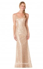 1733UK2155 Mermaid/Trumpet V Neck Gold Lace Mid Back Bridesmaid Dresses