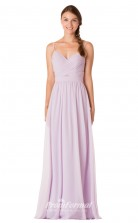 1738UK2160 A Line V Neck Lilac Chiffon Mid Back Bridesmaid Dresses