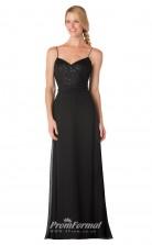 1740UK2162 A Line V Neck Black Lace Chiffon Zipper Bridesmaid Dresses