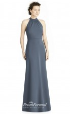 BDUK2163 Mermaid/Trumpet Steel Blue Satin Chiffon Halter Floor Length Bridesmaid Dress