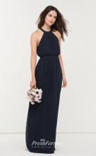 BDUK2166 A Line Navy Blue Chiffon Halter Floor Length Bridesmaid Dress