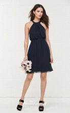 BDUK2167 A Line Navy Blue Chiffon Halter Short Bridesmaid Dress