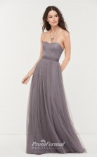 BDUK2169 A Line Dim Gray Tulle Sweetheart Floor Length Bridesmaid Dress