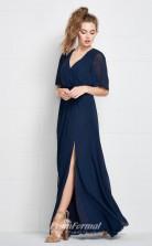BDUK2172 A Line Navy Blue Chiffon V Neck Short Sleeve Floor Length Bridesmaid Dress